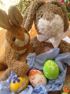 Adam Bunny and Chocolate Bunny minding our painted eggs